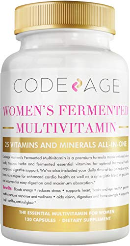 Codeage Whole Food Multivitamin for Women - Natural Multi Vitamins, Minerals, Organic Extracts - Vegan Vegetarian - Best for Daily Energy, Brain, Heart & Eye Health - 120 Capsules