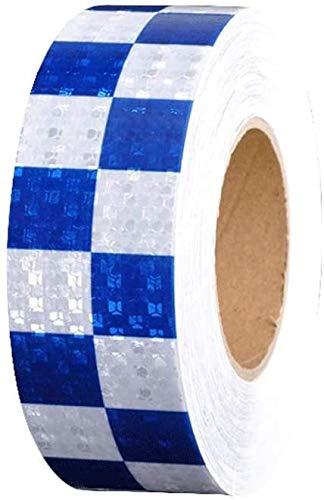 Gevaar Waarschuwing Tape -hoge intensiteit gangpad of rijstrook markering tape reflecterende Gevaar waarschuwing, Night Body Reflective Sticker Vierkant Waarschuwing Logo tape Stickers Lijm Markering Barrier in het oog springende waarschuwingen L6m×w5cm Blauw wit
