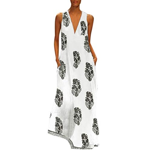 MRULIC Damen Blumen Maxikleid Bohemian A-Linie Lang Kleider Sommerkleid Partykleid V-Ausschnitt ärmellos Strandkleider Boho Lange Bohemian Kleid(D-Schwarz,EU-46/CN-3XL)