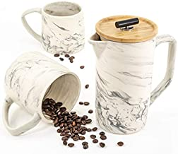 Ceramic Marble 28oz French Press Coffee Maker and 2 Large Mugs Set, Hand-Crafted Design, Stainless Steel Plunger Filter, Bamboo Lid - Packed in a Beautiful Gift Box - Ideal to Brew coffee or Tea
