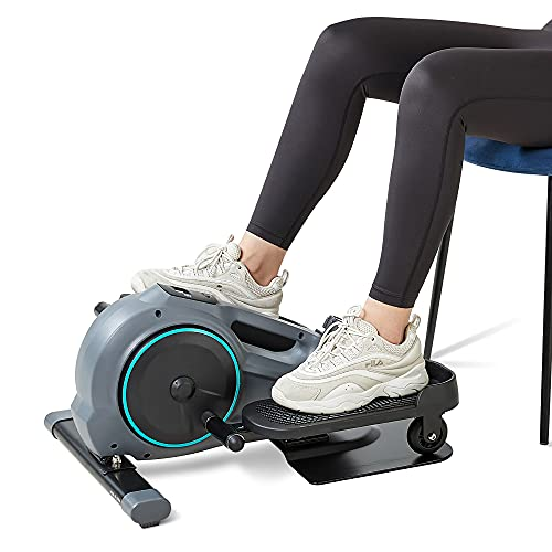 Under Desk Elliptical Trainer for Home & Office - Seated Compact Elliptical Exercise Machine with Adjustable Resistance/Multifunctional LCD Screen for Men and Women