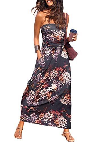 Ancapelion Damen Blumenmuster Maxikleid Langes Kleider Bandeau Kleid Böhmen Sommerkleid Trägerloses Strandkleid Elegante Abendkleid, Mehrfarbig, XL(EU 46-48)