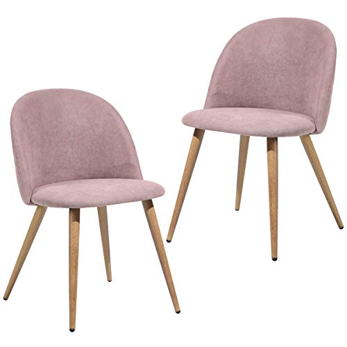 Homy Cozi Modern Dining Chairs/Home Office Chairs/Living Room Side Chair/Parson Chair/Accent Chair Set of 2,Fabric Pink,Wooden Look Metal Legs, IKEA Style