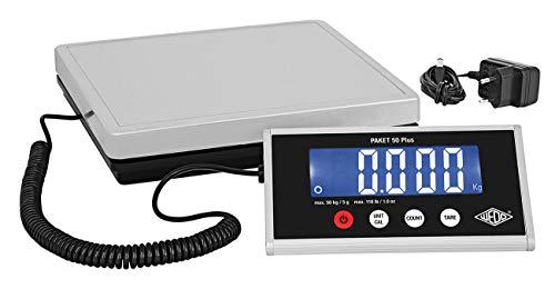 Wedo 507605005 Paket-Waage mit Zählfunktion 50 Plus inkl. Netzgerät, 50kg/ 5g