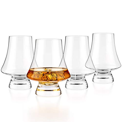 Luxbe - Bourbon Whisky Crystal Glass Snifter, Set of 4 - Narrow Rim Tasting Glasses - Handcrafted - Good for Cognac Brandy Scotch - 9-ounce/260ml
