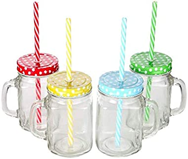 Homies International, Set of 6, Glass Clear Drinking Mason jar Mug jug with Handle, Stainless Steel Metal Polka dot Colored L