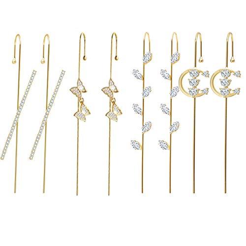 Women Shiny Butterfly Piercing Surrounds Auricle-Style Line Earring,Stud Stick on Earrings for women,Alloy Earrings Piercing Hypoallergenic Fashion