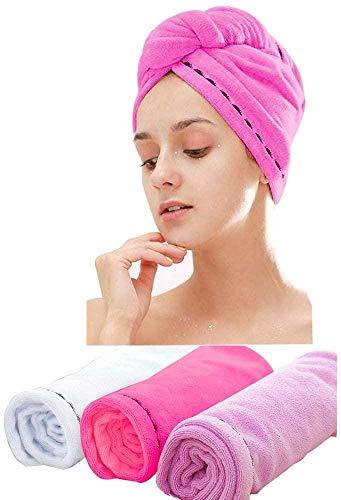 Capuchon de douche à cheveux secs, solide absorbant et à séchage rapide, serviette de shampooing en microfibre épaisse, turban à séchage rapide, serviette de shampooing à capuche mignonne [3 pièces]