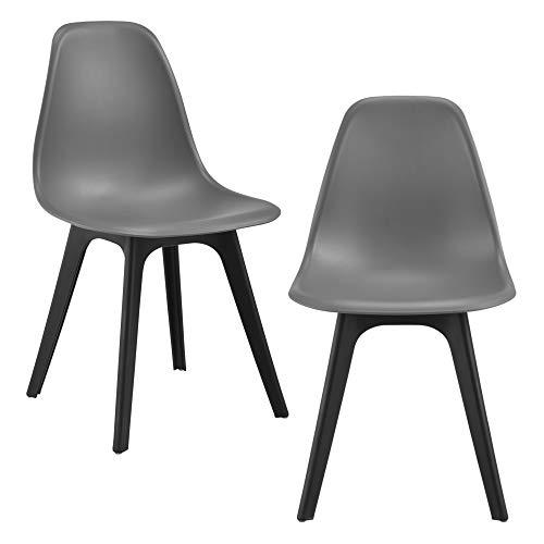 [en.casa] Set de 2 Chaises Design Chaise de Cuisine Chaise de Salle à Manger Plastique Gris et Noir 83 x 54 x 48 cm