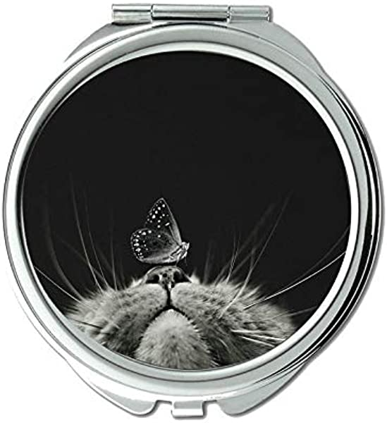 Compact Mirror Round Compact Mirror Double Sided Cat Butterfly Black And White Mirror For Men Women 1 X 2X Magnifying