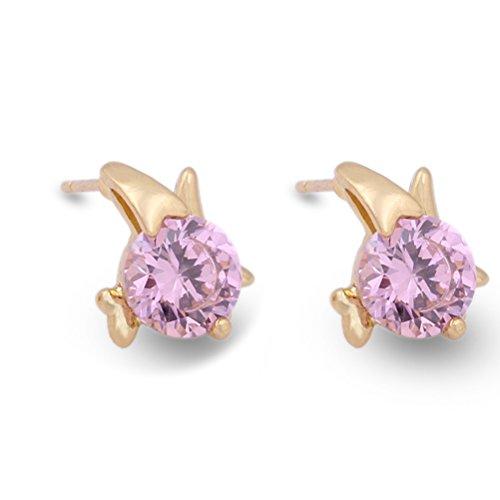 Pixnor coppia di ragazze zircone stile tondo femminile pezzi decorati Eardrop orecchini a perno (rosa)