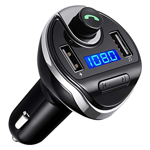 Jazmy Bluetooth FM Transmitter for Car, Wireless FM Radio Transmitter Adapter Car Kit with Hands-Free Call and Dual USB Charging Ports U Disk, MP3 Music Player