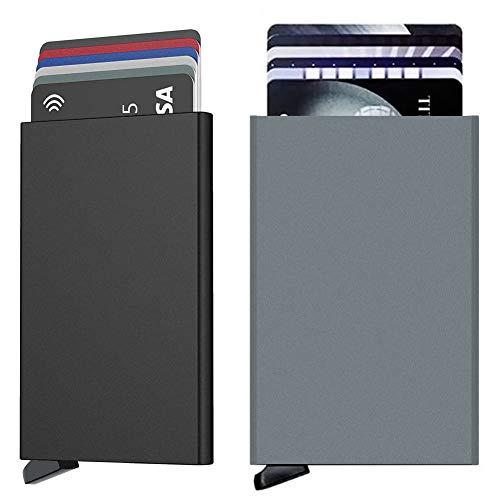 Hually Tarjetero Doble Caja de Metalico RFID Bloqueo Tarjeteros,Automático Bloqueo RFID. Billetera Minimalista,Tarjetas de Credito Hombre o Mujer 5 Tarjetas.Dos Piezas (Negro y Gris)