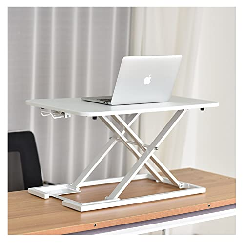 Conversor de escritorio de pie de 2.36 a 15.74 pulgadas de altura ajustable con muelle de gas, mesa ergonómica para uso en el hogar/la oficina estación de trabajo, color blanco