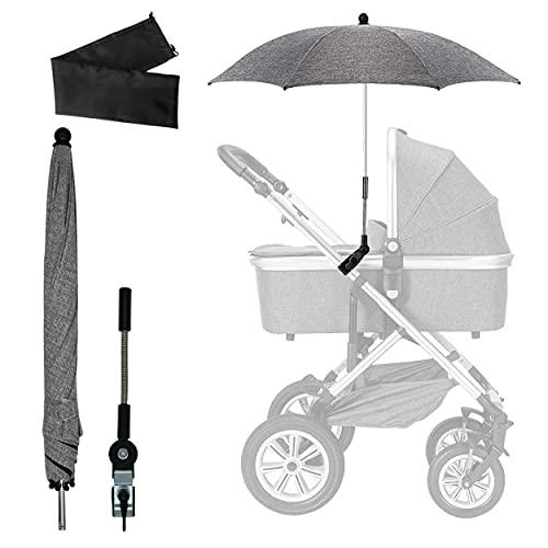 Universal Sonnenschirm Kinderwagen, Sonnenschirm Sonnenschutz für Kinderwagen, UV Schutz 50+, Kinderwagen Regenschirm Wasserabweisend, mit Gerader Schirmgriff