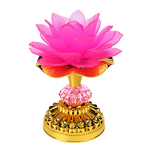 LACGO Pack of 1 LED Lotus Buddhist Light, 7 Color-Changing Gradient Buddha Lotus Lamp, 2 in 1 USB or Battery-Operated Buddhist Worship Prayer Faith Supply Things(3.3''W/5.5''H, Pink)
