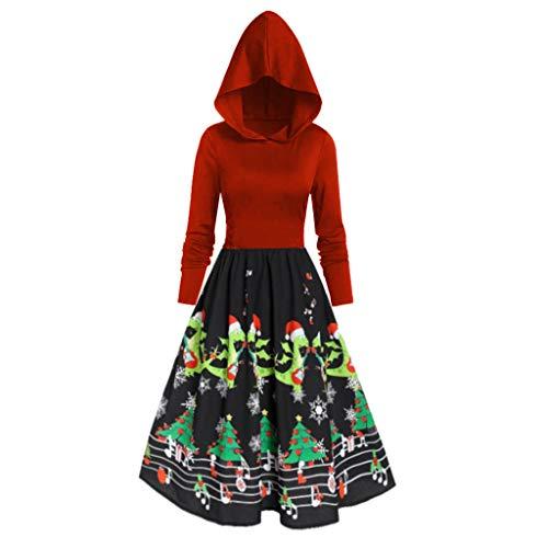 Smony - Christmas Weihnachtlicher Kapuzen-Kleid mit Kapuze und Kapuze für Partys, Weihnachten, Lange Ärmel, Vintage-Lang, mit Kapuze, Outfits, rot, XXX-Large