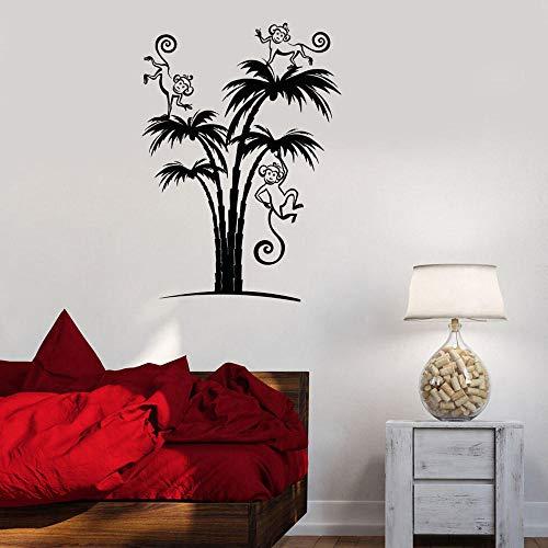 Wandaufkleber,Palms Animal Monkey Vinyl Wall Decal For Nursery Living Room Child Bedroom Decoration Stickers Nodic House Mural-42X59 Cm.