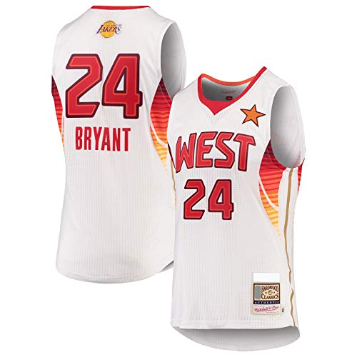 XIAOJI Equipo uniforme Blanco -Lakers Custom Bryant Basketball Jersey Los Hombres Angeles Nets #24 Hardwood Classics Game Jersey Icono Edition-S
