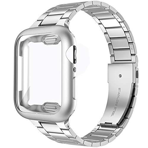 Miimall Compatible con Apple Watch Series 6/SE/5/4 44 mm pulsera con carcasa de TPU ultra fina premio acero inoxidable metal correa de repuesto para Apple Watch 44 mm – Plata