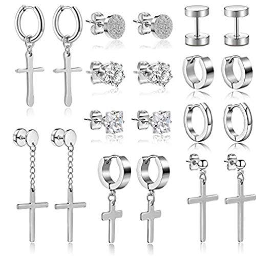 Abcidubxc 10 pares de pendientes de cruz de acero inoxidable, pendientes de aro plegables, juego de pendientes para hombre y mujer