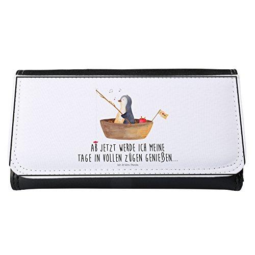 Mr. & Mrs. Panda Geldbeutel, Geldbörse, Damen Portemonnaie Pinguin Angelboot mit Spruch - Farbe Weiß