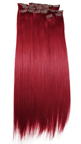 PRETTYSHOP XXL 60cm 8 teiliges SET Clip In Extensions Haarverlängerung Haarteil hitzebeständig glattintensiv rot 3100 CES9