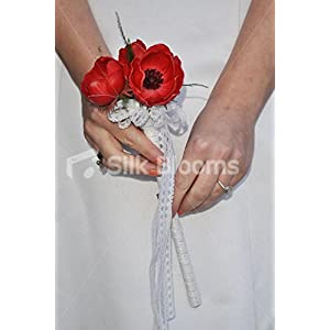 Elegant Fresh Touch Red Anemone & White Lace Flower Girl Wedding Wand