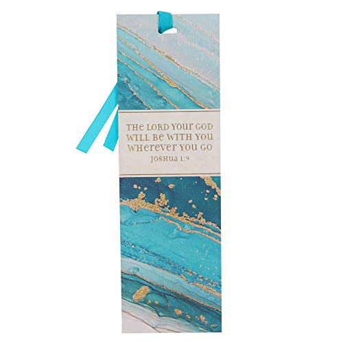 Teal Marble Swirl Premium Scripture Bookmark God Will Be with You Joshua 1:9 Bible Verse Metallic Gold Accent Inspirational Bookmark for Men and Women w/Satin Ribbon