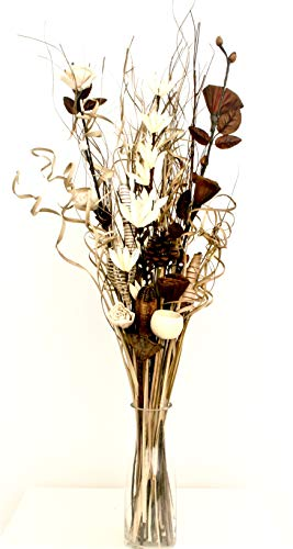 Blumenstrauß aus Kunstblumen und getrockneten Blumen, 85 cm, ohne Vase (natürlich und cremefarben)
