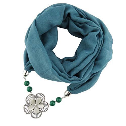 FENGHUAN Bufanda De Otoño E Invierno Collar De Joyería De Algodón De Color Puro BaberoModa Flor Silvestre Colgante Bufanda Verde Oscuro