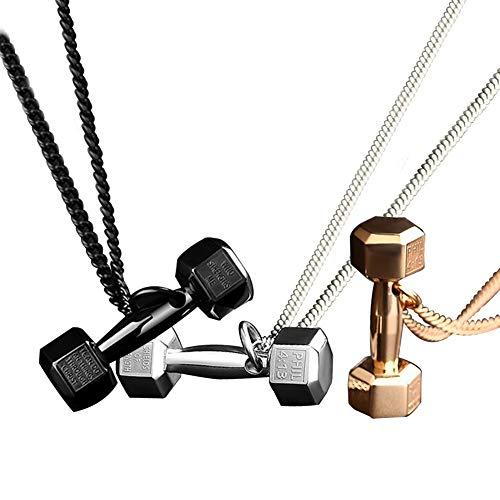 AIUIN 3Pcs Mezcla de Colores Collar de Aleación Colgante de Mancuerna Dominante Collars Joyería