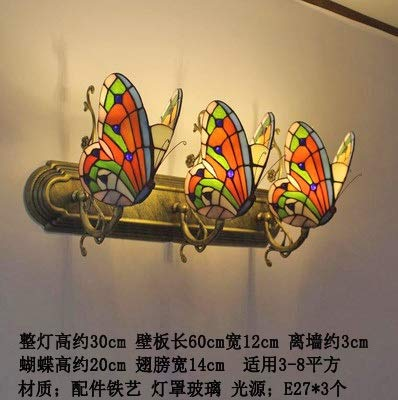 weichuang Luces de decoración de fiesta Tiffany mariposa luces de pared color cristal creativo lámpara dormitorio noche pastoral europeo decoración de pared led (pantalla de color J)