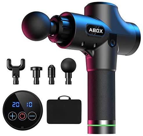 ABOX Massagepistole, MG-009 Massagegerät Elektrisch für Nacken Schulter Rücken Massage Gun Entspannen mit 4 Massageköpfen und 20 Geschwindigkeiten Vibrationsgerät Muskel, Schwarz