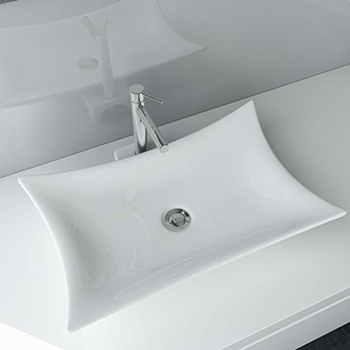 Wasten24 Design keramische wastafel opzetstuk wastafel wastafel voor badkamer gastentoilet A68
