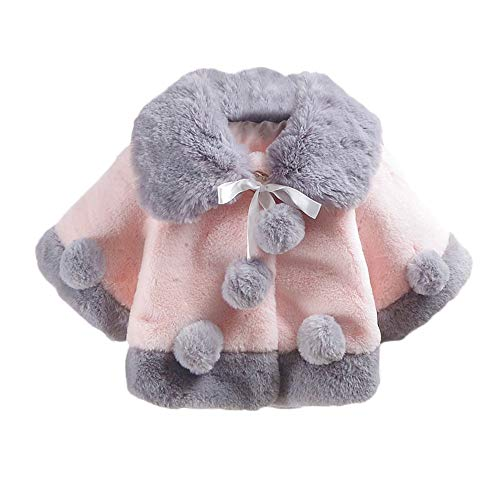 Kobay Baby GirlsCoat Baby Infant Girls Autumn Winter Velvet Cloak Jacket Thick Warm Clothes Tops Suit for 0 2 Years Baby Pink