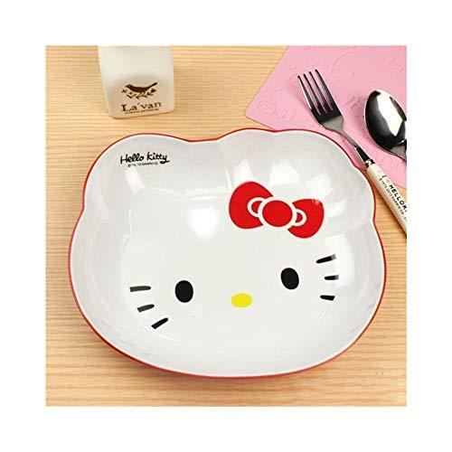 RYYAIYL Decoration Dinner Plates Snacks Fruit Dish Dessert Bowl Dishes Ice Cream Tubs Pudding Box Kitchen Bar Tools Cartoon Hello Kitty (Color : Red)