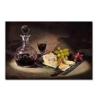 キッチングレープワインとチーズのポスタープリントアートワークギフト壁アートキャンバス絵画リビングルームの装飾家の装飾-50x70CMフレームなし