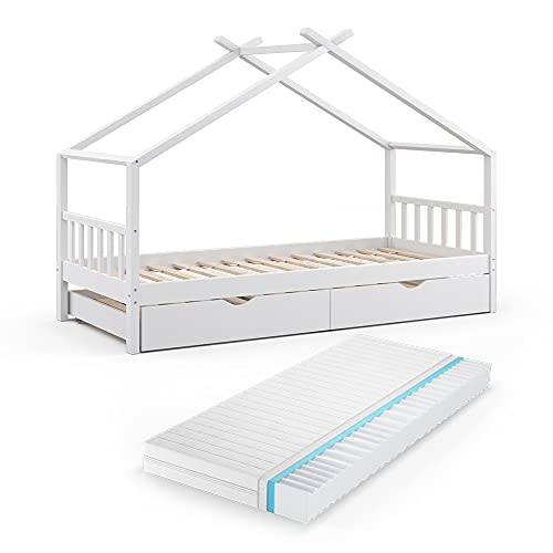 VitaliSpa Kinderbett Design HausbettGästebett Lattenrost90x200 (Weiß + Matratze)