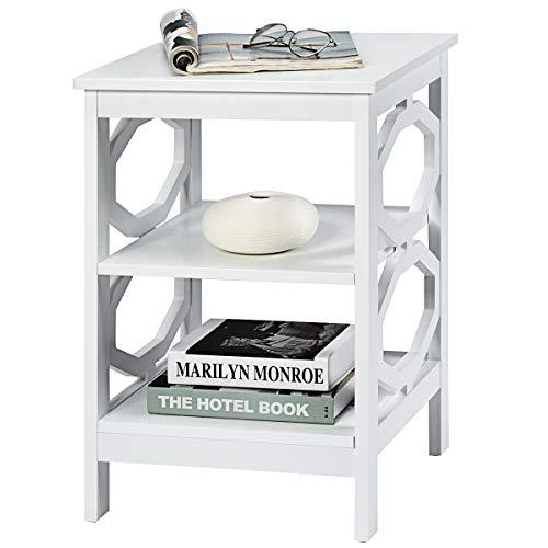 COSTWAY Nachttisch 3 Ebenen, Beistelltisch Nachtschrank, Sofatisch Couchtisch für Schlafzimmer, Wohnzimmer 40x40x61cm (Weiß, OO-förmig)