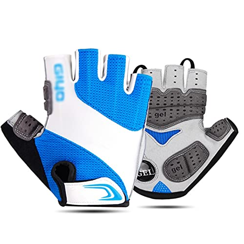 FOLA Bicycle Gloves Bike Gloves Cycling Gloves,Liquid Gel Padded Shock Absorbing Road Bicycling Gloves Anti Slip Mountain Bicycle Gloves Bike Gloves (Color : Blue, Size : X-Small)