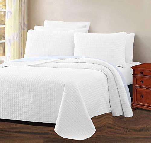 Infinite Weaves 2-teiliges Bettwäsche-Set für Doppelbetten – Fadenzahl 300, 100 prozent Baumwollsatin, übergroße Tagesdecke mit Kissenbezügen – Gittermuster, luxuriös & leicht – 2 Stück (Doppelbett, weiß)