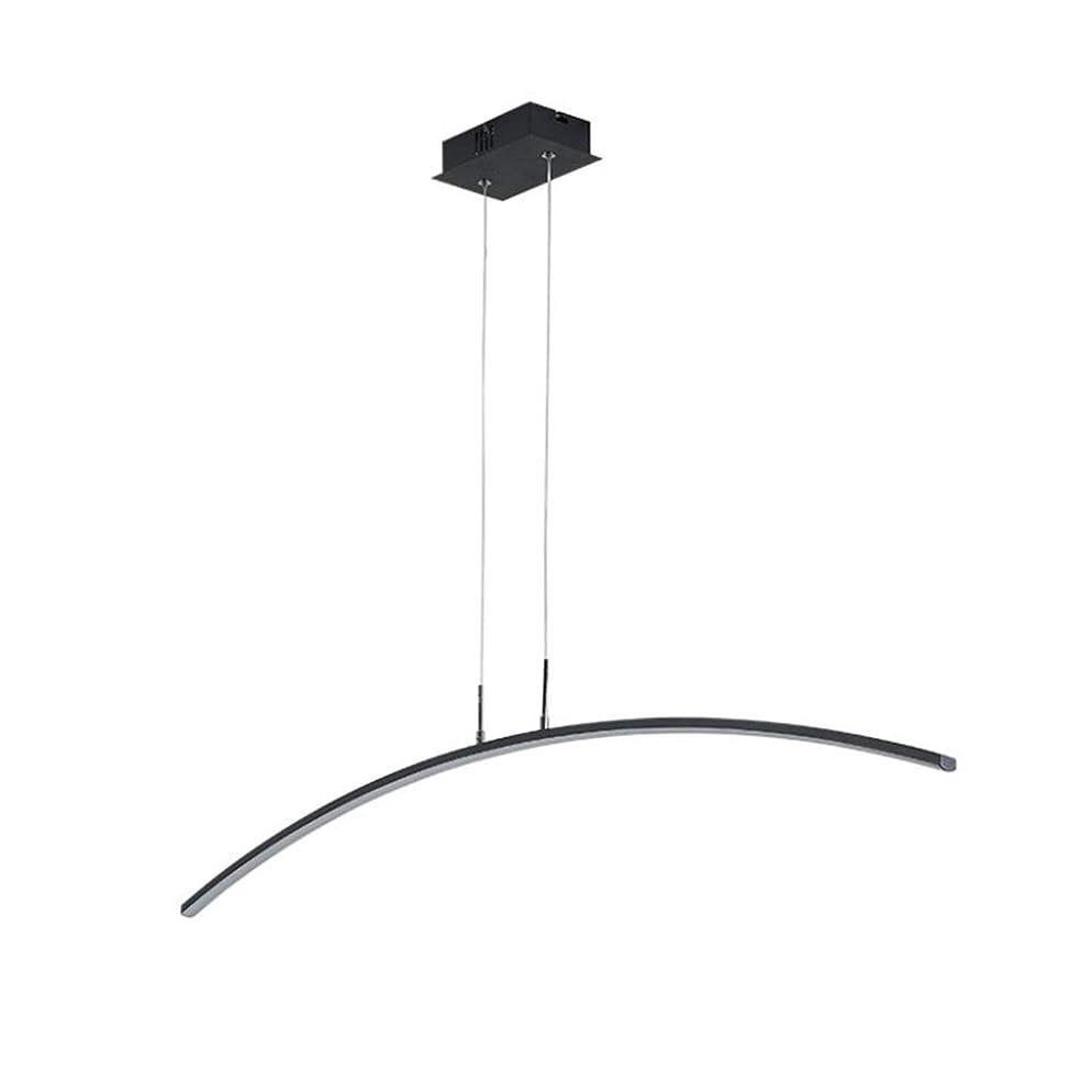 評価する接続残り物HUA LEDブラック調光ペンダントランプ、24Wシャンデリア吊り照明器具、リビングルーム、ダイニングルーム用
