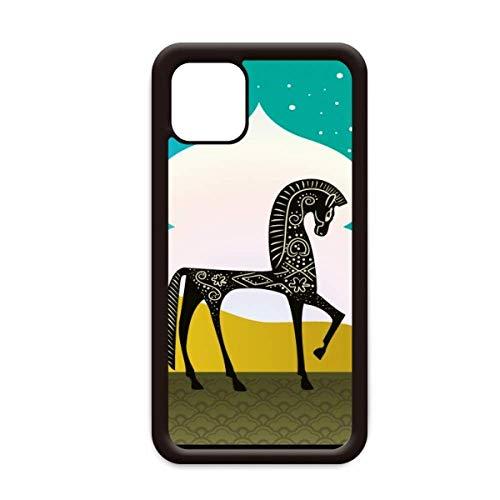 Kasteel Droom Prinses Stijl Paard Blauw Geel voor Apple iPhone 11 Pro Max Cover Apple Mobiele Telefoonhoesje Shell, for iPhone11 Pro