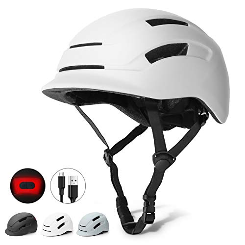 Glaf Adult Bike Helmet Cycling Bicycle Helmet USB Rechargeable Light Urban Commuter Lightweight Multi-Sport Helmet CPSC Certified Adjustable Size for Adult Men Women (White, M)