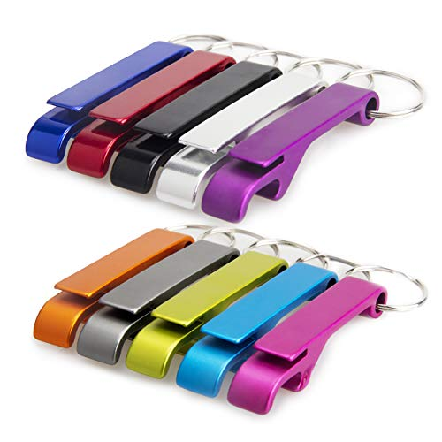 Swatom Bottle Opener Keychain Aluminum Beer Bottle Openers Metal EDC Soda Keyring Tool Personalized Gift Custom Accessories for Kitchen Wedding Party (10 Color)
