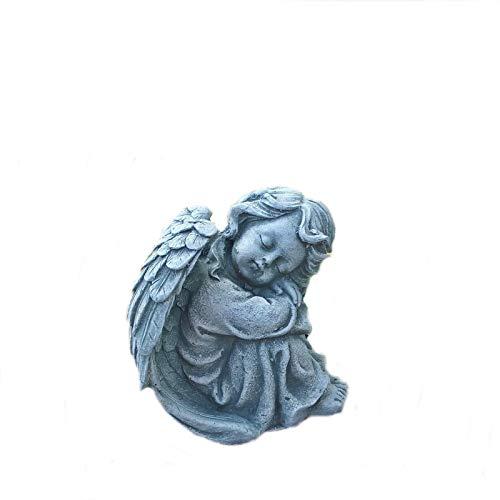 Steinfigur Engel sitzend Flügel Grabengel Grabschmuck Steinguss Frostfest