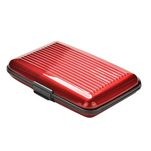 Business Card Case Stainless Steel Aluminum Holder Metal Box Cover Credit Business Card Holder Card Metal Wallet for Women Men (Color : Red)