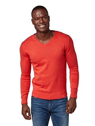 TOM TAILOR Herren Basic V-Neck Pullover, Rot (Valiant Red 4767), XXL