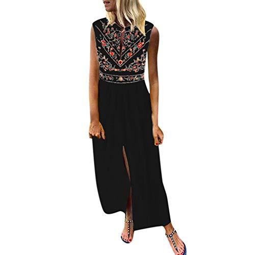 Lulupi Damen Boho Floral MaxiKleid, Vintage V-Ausschnitt ärmellos Geblümtes Kleid Strandkleider Kleider Freizeitkleider